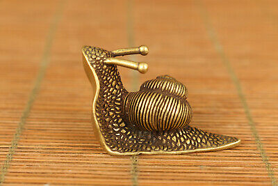 old brass hand carved snail statue collectable figure home decoration