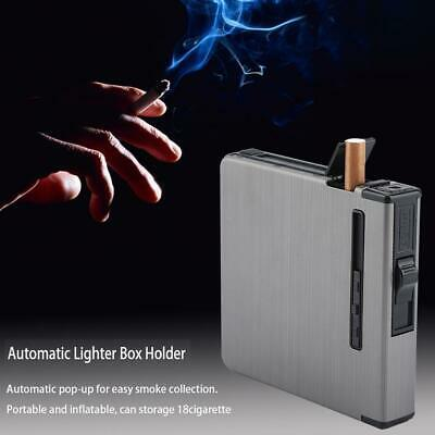 18 Cigarette Case Dispenser Tobacco Storage Box Holder With Windproof Lighter