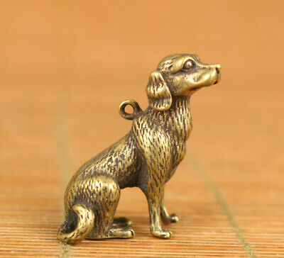 old bronze hand carved dog statue pendant netsuke collectable necklace