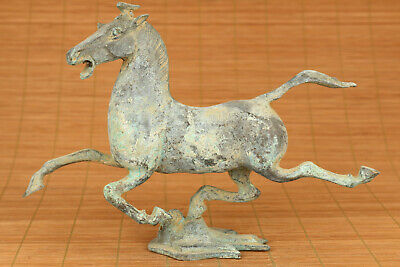 Big old bronze hand carved flying horse statue netsuke collectable decoration