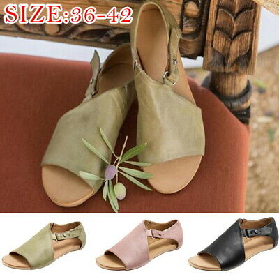 Womens Ladies Gladiator Casual Sandals Open Toes Summer Beach Flats Shoes Size