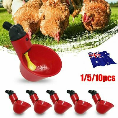 1/5pcs Automatic Cups Water Feeder Drinker Chicken Waterer Poultry Chook Bird AU