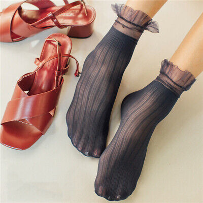 Women Spring Solid Color Thin Section Mesh Lace Loose Cotton Socks CB