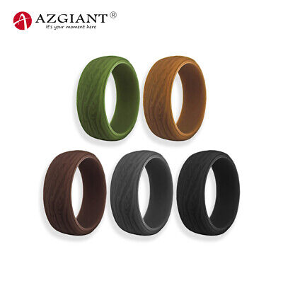 Silicone Rings, 5 Pack / 1 Ring Bark Grain Wedding Bands for Men - 8.7 mm Wide