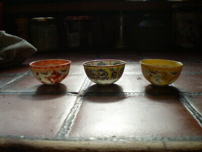 antique 3 tiny cups Japanese