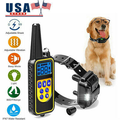 875yard Pet Trainer Waterproof IP67 LCD Rechargeable Dog Shock Training Collar