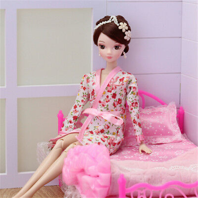 Handmade Doll Clothes Flower Printed Pajamas Sleepwear for  Doll Jn