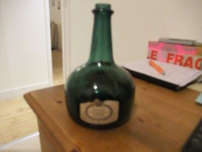 Vintage Thorens Movement Green Glass Bottle Music Box Plays Hunting Song.