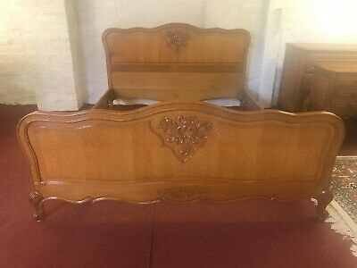 Stunning Shaped French Carved Oak King Size Bed