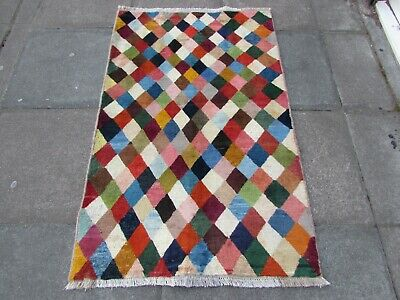 Old Traditional Hand Made Persian Oriental Wool Blue Pink Gabbeh Rug 147x97cm