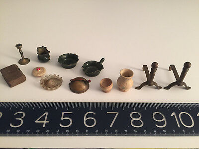 VINTAGE/ANTIQUE dollhouse Miniature Wood, Pottery, Glass, Metal more great lot