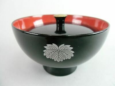 Japanese Lacquer ware Lidded Bowl Miso Soup Rice Vtg Owan Black Red Flower LW800