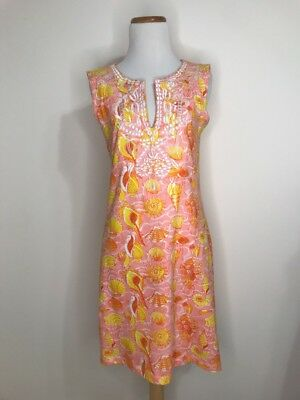 Barbara Gerwit Vintage Pink Yellow Orange Shell Print Dress Embroidered S