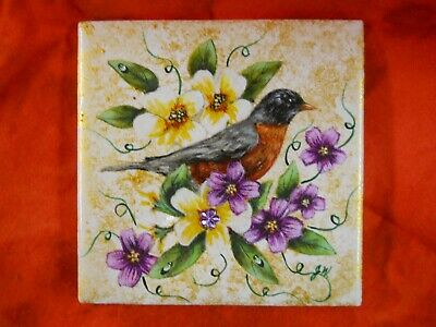 Robin Bird Wildlife Violets Painted Decoupage Art Tile Collectable