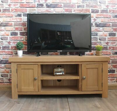 Chunky Solid Oak Furniture Large Television Cabinet Stand Unit RRP £225