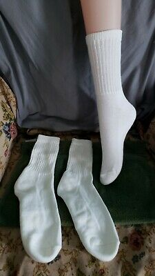 6 Pair Soft Thick Cushioned Sole Vintage Socks White  New -Old  Stock irregulars