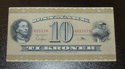 Nice 1950-52 Denmark Ten 10 Kroner Banknotes.  Strong Almost Uncirculated Note