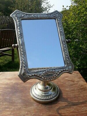 "Vintage Brass Art Nouveau Style  Dressing Table Vanity Mirror 13""."