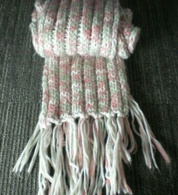 Coral, Grey & White Chunky Knit Fringed Scarf With Silver Metallic Thread in VGC