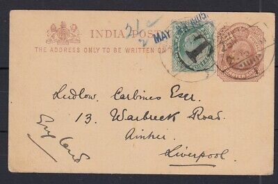 India 1905 Edward VII 1/4as postcard uprated with T postage due charge to UK