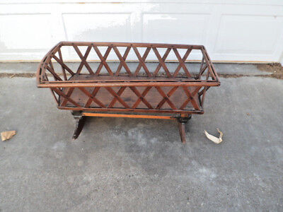 1800s Farm Primitive Wooden Baby Cradle