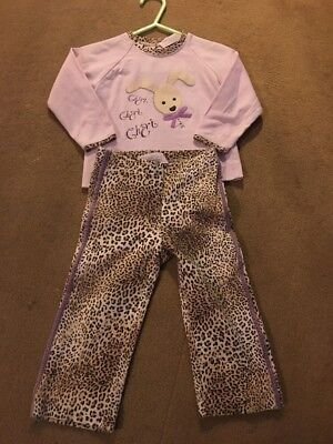 Monnalisa Bebe Leopard /Lilac Two Piece Outfit 12 Months So Cute
