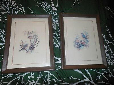 Homco Framed Picture Set Prints Paul Whitney Hunter Sparrows On Branch Blue Bird