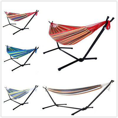 Outdoor Swing Chair Double Hammock with Steel Stand Camping Bed Free Shipping US