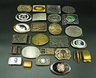 Huge Lot of 26 Vintage Brass Metal Belt Buckles Coke Railroad Nature Military