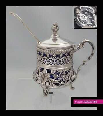 GORGEOUS ANTIQUE 1880s FRENCH STERLING SILVER OPENWORK MUSTARD POT & SPOON