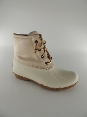 052eff34201 NIB SPERRY TOP-SIDER Saltwater Metallic Grey Duck Boots Short Womens ...