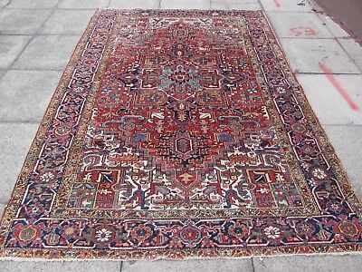 Antique Traditional Hand Made Persian Oriental Wool Red Rug Carpet 270x192cm