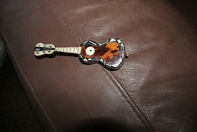 Antique Miniature Model Musical Guitar Faux Tortoiseshell Mother Of Pearl Inlay