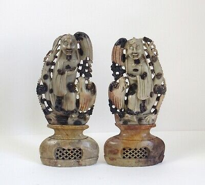 Fine pair of antique Chinese 19th century soapstone figures on stands