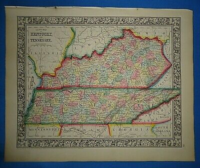 Vintage 1863 KENTUCKY - TENNESSEE MAP ~ Old Antique Original Atlas Map 41019