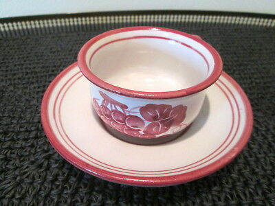 Vietri Solimene Hand Painted Grapes Pattern Cup & Saucer Set - Clean!!