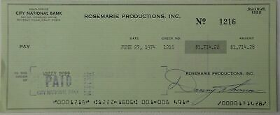 Danny Thomas Hand Signed Autographed Personal Check #1216