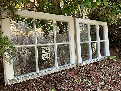 2 - 24 x 19 Vintage Window sash old 6 pane From 1948 Arts & Craft