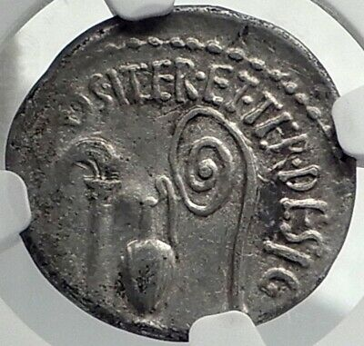 AUGUSTUS as OCTAVIAN Rare 37BC Authentic Ancient Silver Roman Con NGC i77399