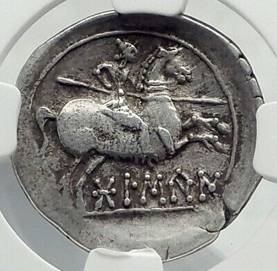 Bolskan Osca SPAIN 150BC Ancient Silver Greek Type Iberian Coin HORSE NGC i77400