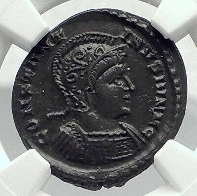 CONSTANTINE II Jr Authentic Ancient 321AD LONDON Mint Roman Coin NGC i77406