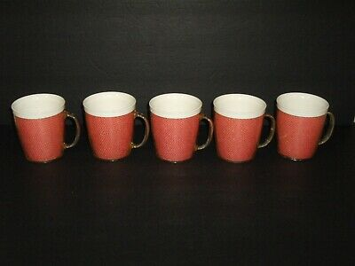 Vintage 1960's Raffiaware Pink Burlap 10 oz. Cups set of 5 Made in the USA