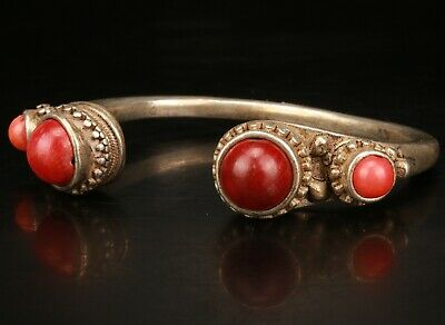 Chinese Tibetan Silver Inlaid Red Coral Hand Carving Bracelet Jewelry Gift