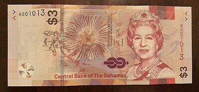 Bahamas 3 dollars 2019 Brand New Issue QEII Very low Serial # UNC A001013