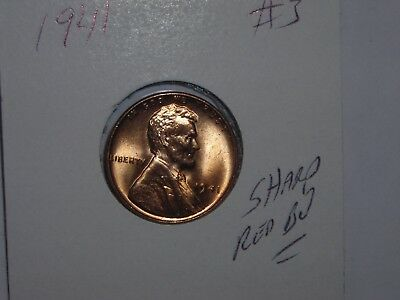 wheat penny 1941 SHARP RED BU 1941-P LOT #3 LINCOLN CENT NICE UNC RED LUSTER