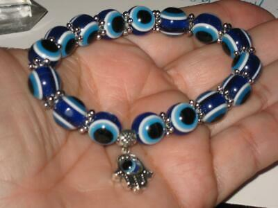 Evil Eye Hamsa Hand Charm Blessed Bracelet Protection Wards Off Harm & Hexes