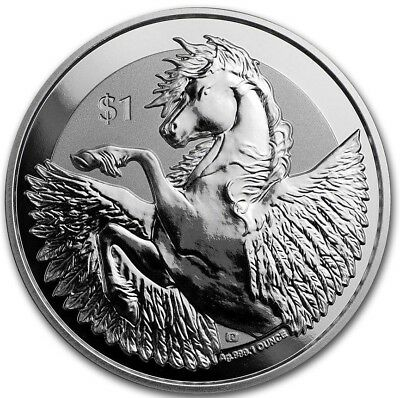 2018 ~ 1~Oz ~ Pure .999 Silver ~ Pegasus ~ Reverse Frosted Proof Coin ~$9.99 ~Nr