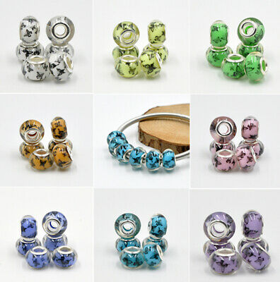 50pcs Colorful murano Charm beads Fit DIY European Bracelet Jewelry beaded A50