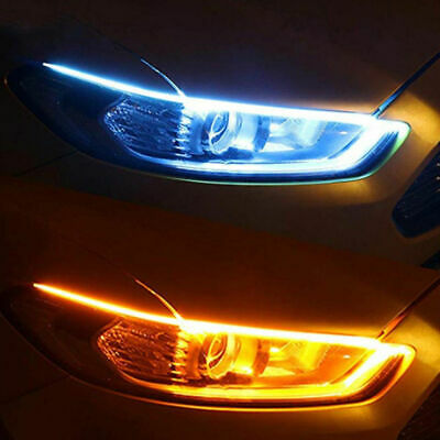 2x 60CM Slim Amber Sequential Flexible LED DRL Turn Signal Strip for Headlight C
