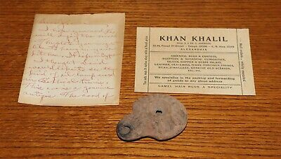 Ancient Decorated Terracotta Oil Lamp from Alexandria Shop w/ Provenance Letter